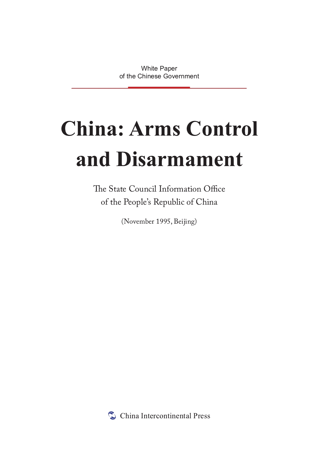 China:Arms Control and Disarmament