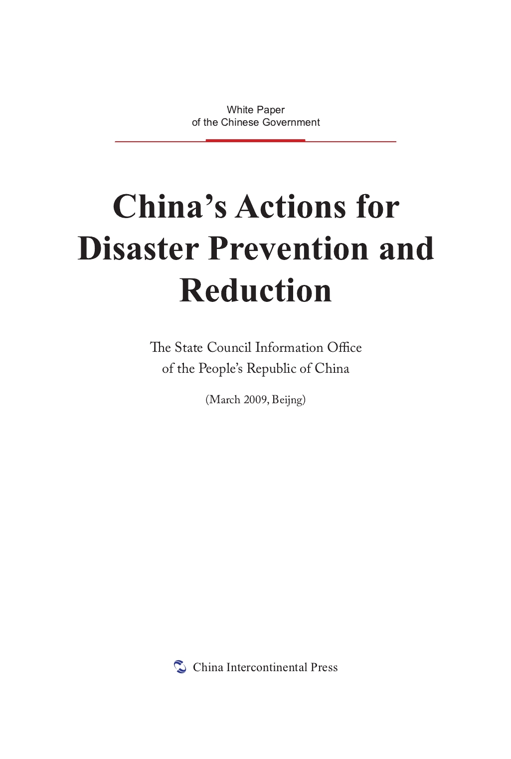 China's Actions for Disaster Prevention and Reduction