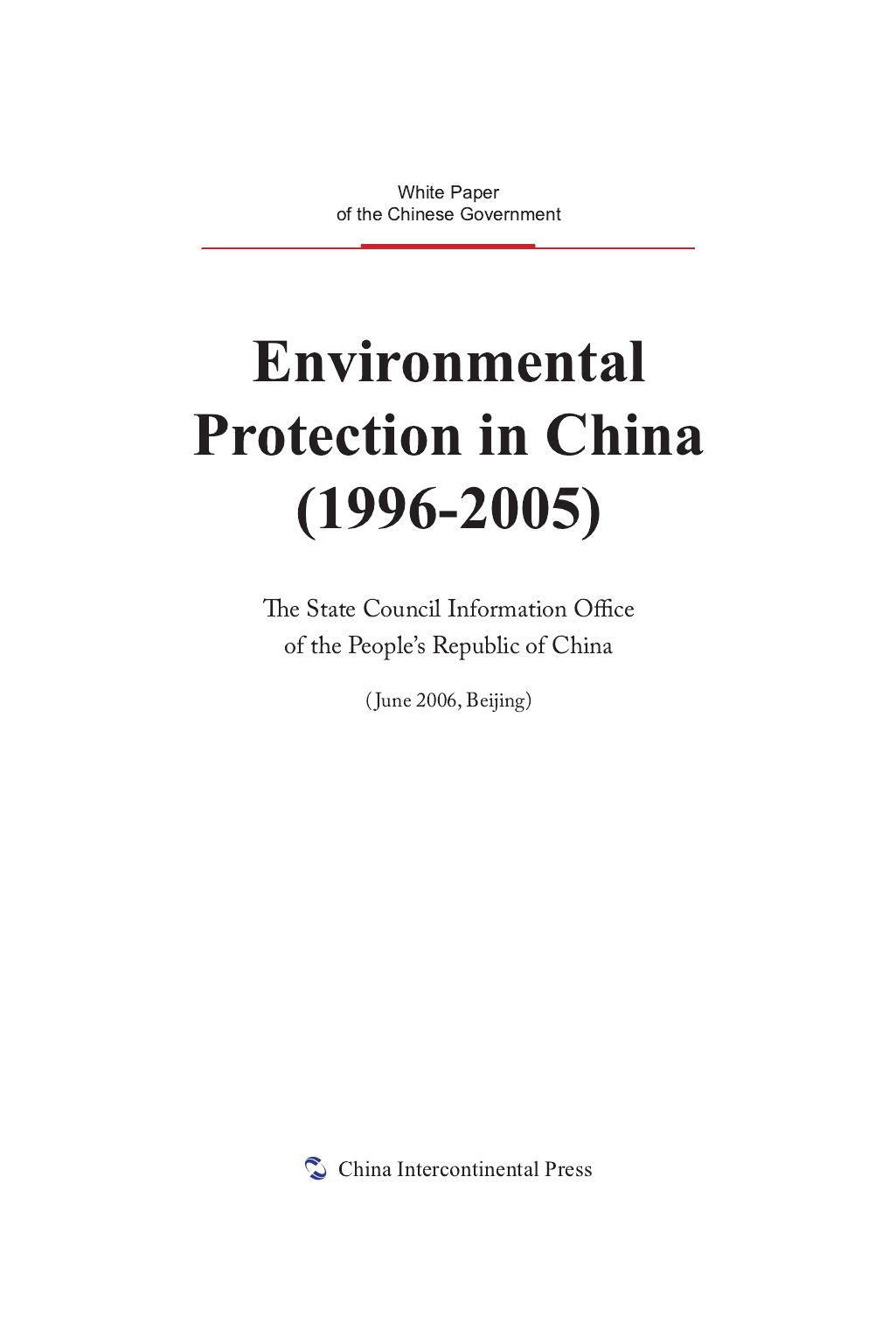 Environmental Protection in China(1996-2005)