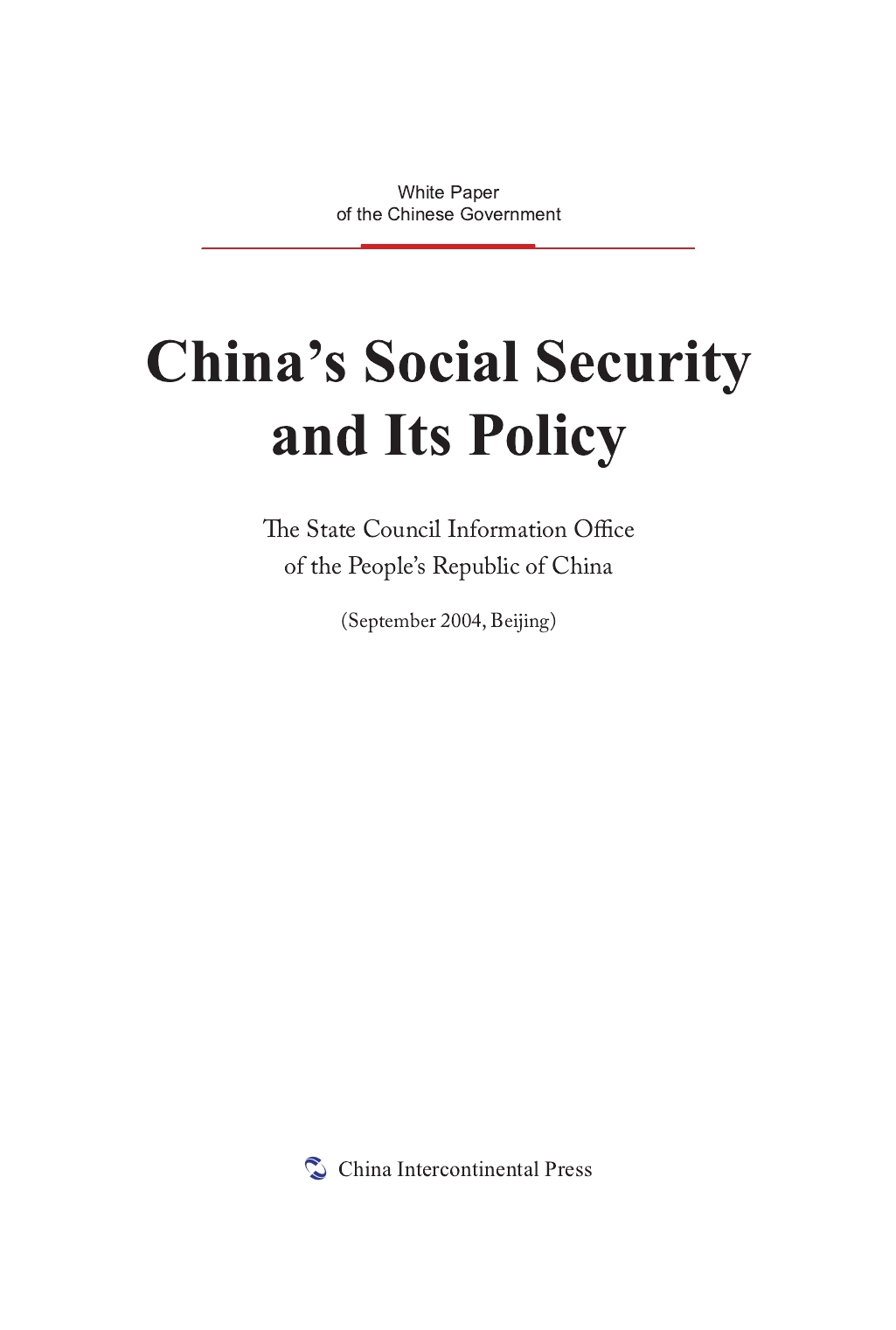 China's Social Security and Its Policy