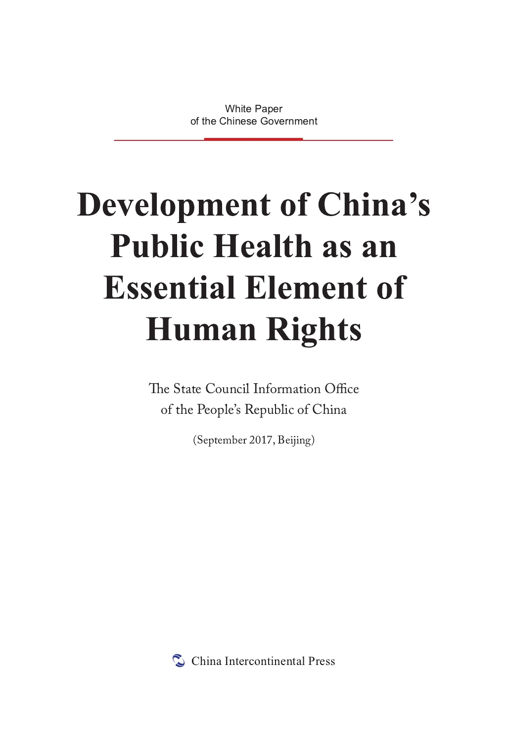 Development of China's Public Health as an Essential Element of Human Rights