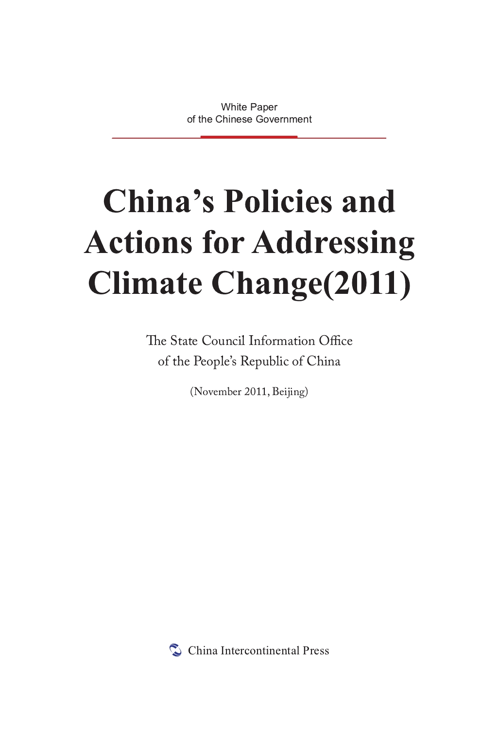 China's Policies and Actions for Addressing Climate Change(2011)